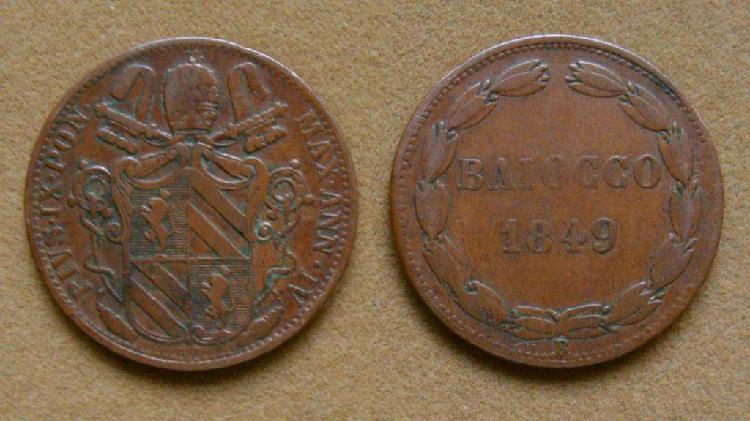 Moneda de 1 baiocco estados pontificios, italia 1849 r ann