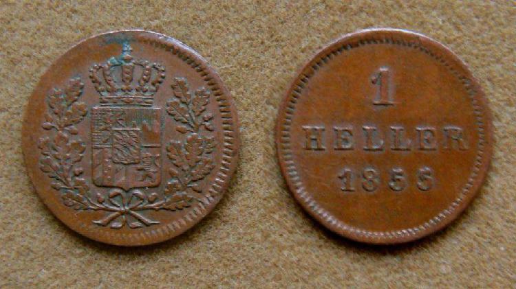 Moneda de 1 heller, baviera, alemania 1855