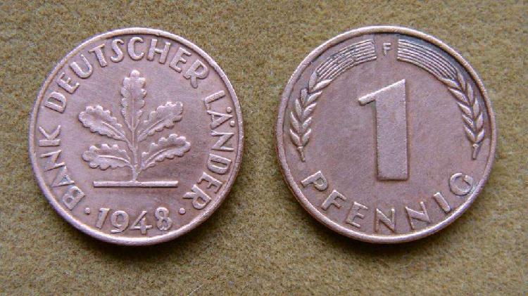 Moneda de 1 pfennig alemania federal 1948