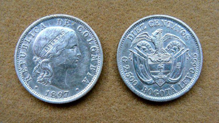 Moneda de 10 centavos de plata colombia 1897