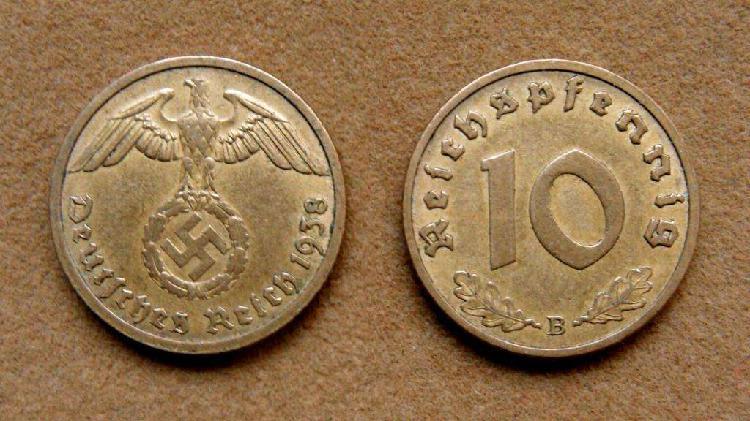 Moneda de 10 reichspfennig alemania 1938