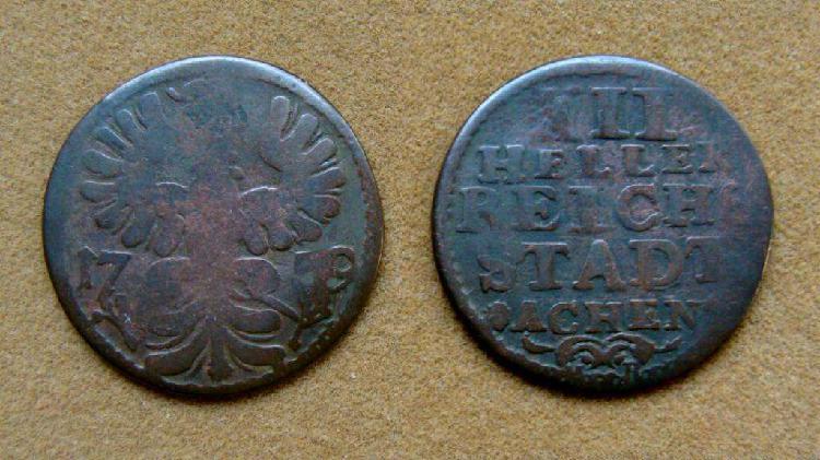 Moneda de 12 heller achen, alemania año 1759