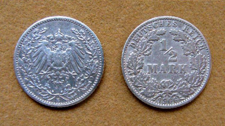 Moneda de 1/2 marco de plata alemania 1906