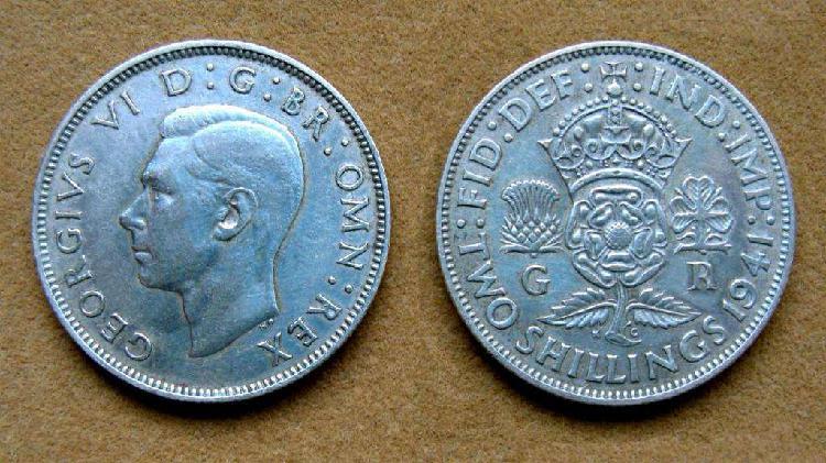 Moneda de 2 chelines de plata gran bretaña 1941