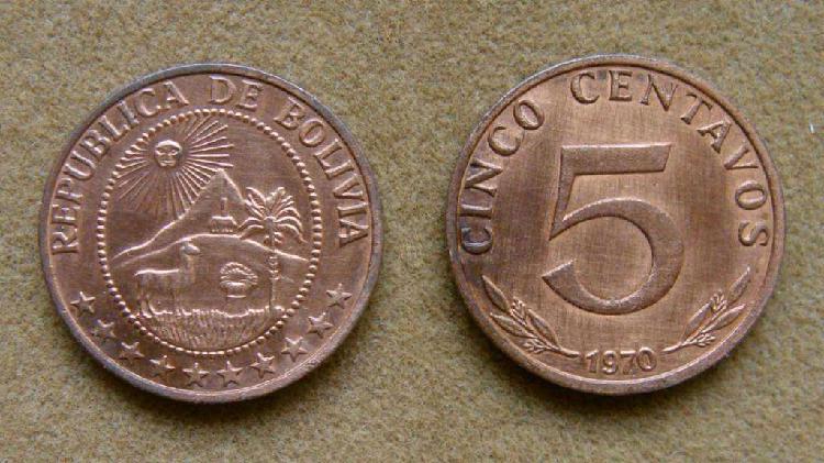 Moneda de 5 centavos bolivia 1970