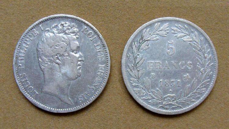 Moneda de 5 francos de plata francia 1831