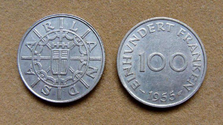 Moneda del protectorado de sarre saarland 100 francos 1955