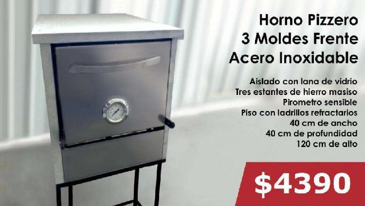 Hornos pizzeros con frente de acero inoxidable 3/6/12 moldes