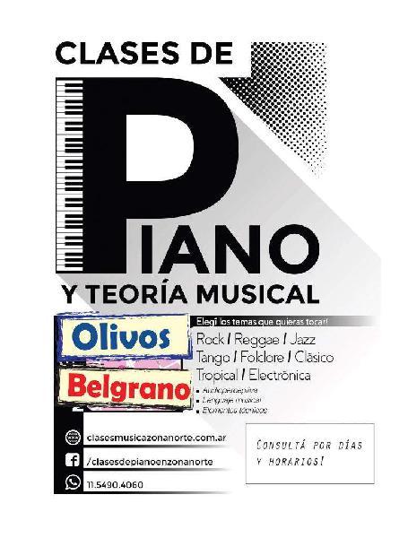 Clases de piano y teclado nuñez y en olivos