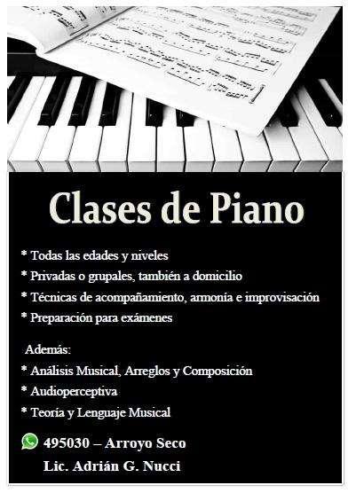 Clases de Piano u Órgano Electrónico Arroyo Seco