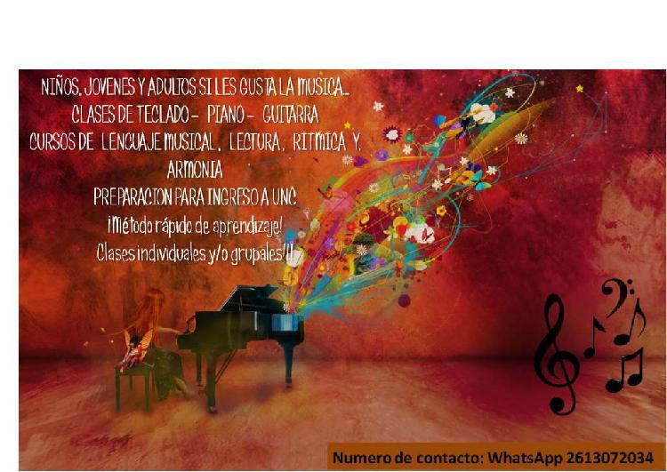 Clases de teclado, piano y guitarra / cursos de lectura,