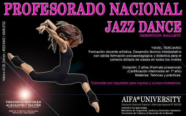 Profesorado nacional de jazz mención ballet en 2 años -