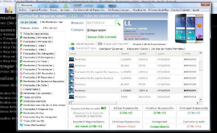 Software sistema reparación pc, celulares, notebooks,