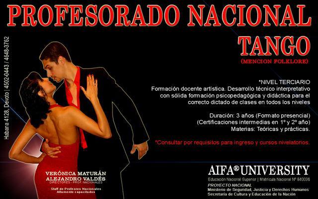 Tango profesorado nacional en 3 años