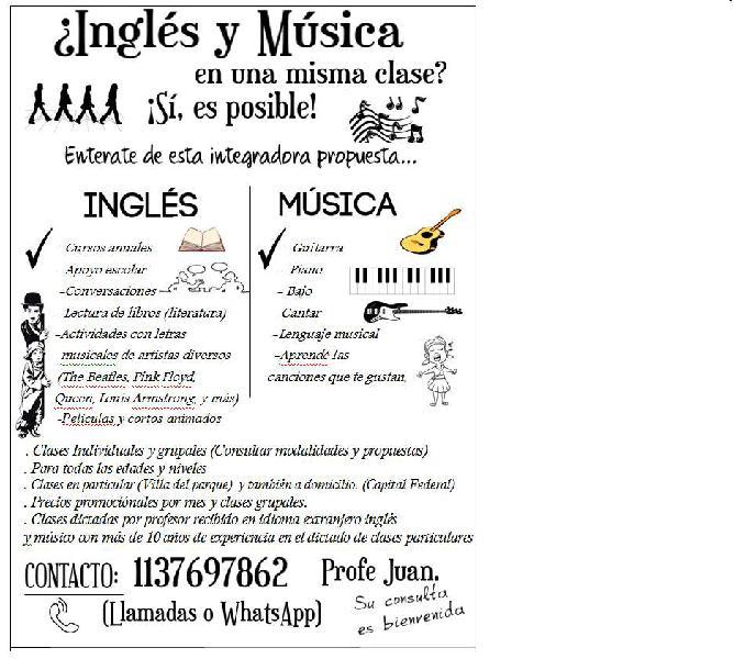 Clases de inglés y música combinadas. una experiencia