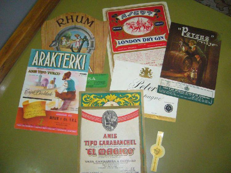 Etiquetas bebidas antiguas.