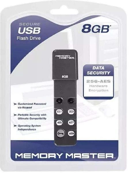 Pendrive encriptado 8gb 256bit memory master contraseña