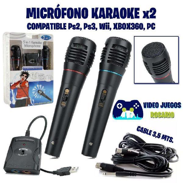 Set x2 micrófonos karaoke compatibles ps2, ps3, wii, xbox