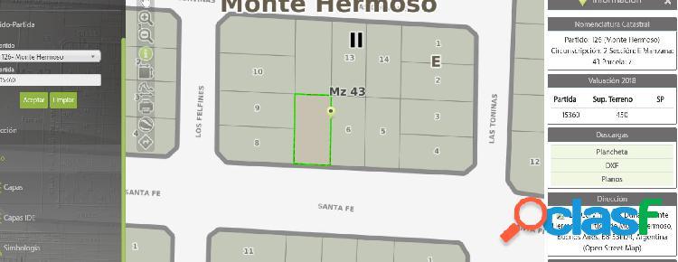 MONTE HERMOSO VENTA LOTE Bª LAS DUNAS 1