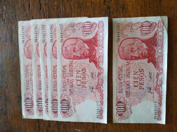 Billetes 100pesos serie c lote de 6 unid