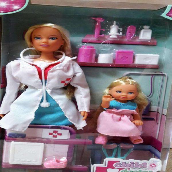 Muñeca barbie steffi doctora pediatra con nena y accesorios