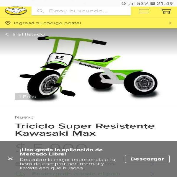 Triciclo kawasaki infantil 0km