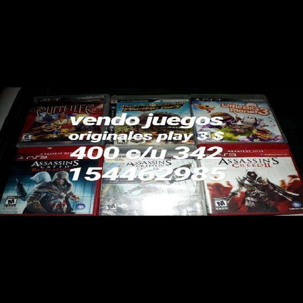 Vendo juegos originales play 3 400 c/u