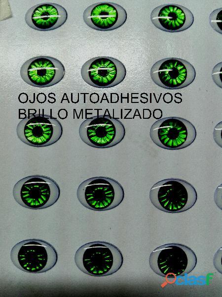 Ojos brillo metalizado 3d autoadhesivos