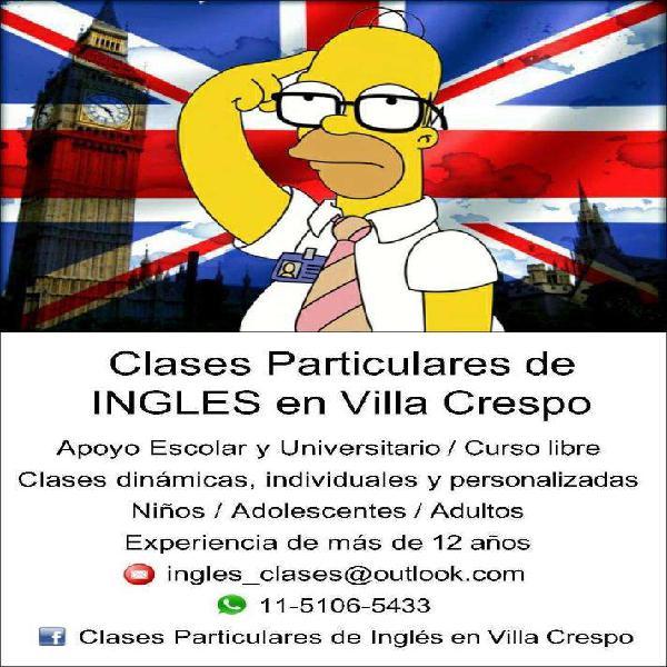 Profesora de ingles particular en villa crespo