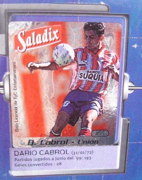 Sticker figurita darío cabrol unión futbol 2001 saladix no