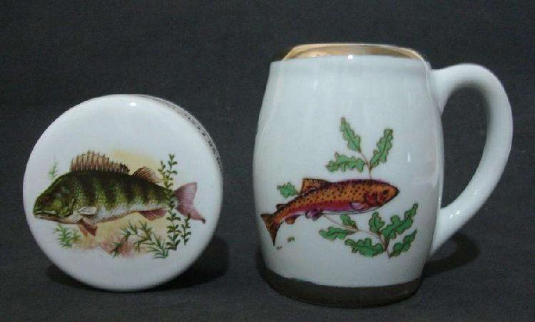 Mate y pastillero de porcelana miramar peces