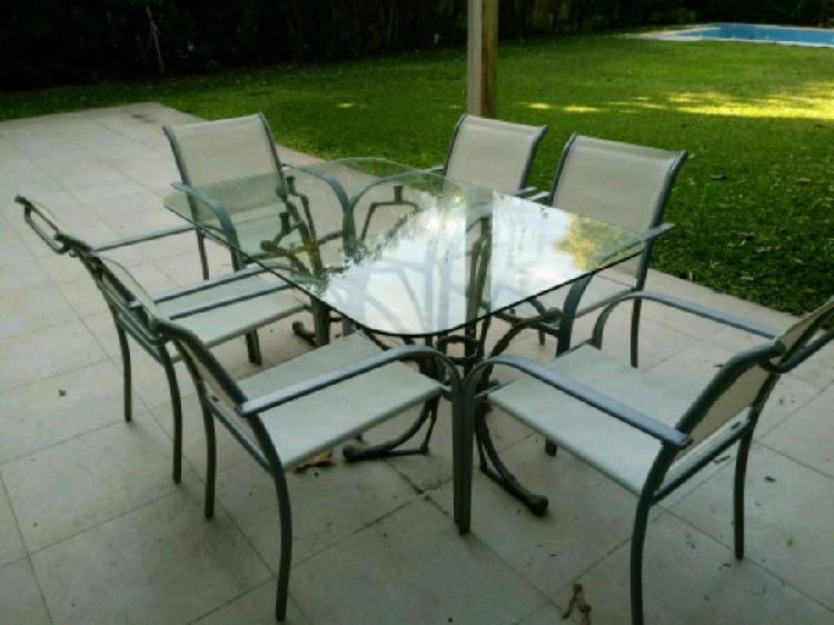 Mesa vidrio 150 x 94 cm con 6 sillas