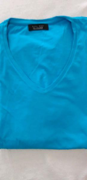 Remera algodón turquesa zara