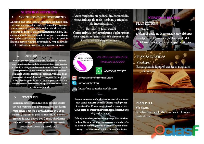 Asesoría de tesis, tesinas, TIF, monografías y TP.