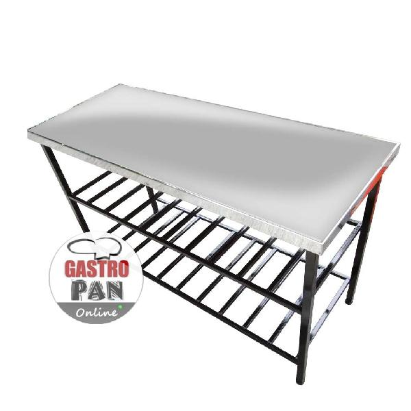 Mesa de trabajo acero inoxidable 150x60 cm 2 estantes