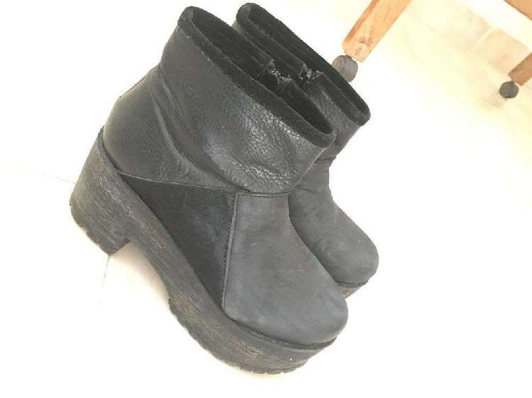 Botas de cuero negras (t38) cplataforma
