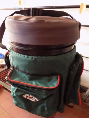 Balde bolso pesca asiento porta carnadas 4 bolsillos