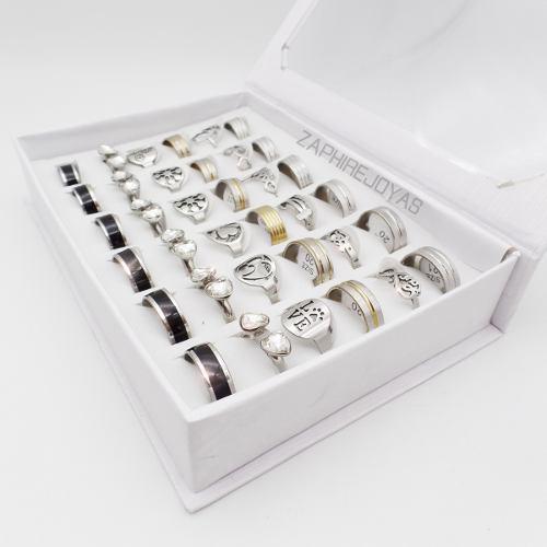 Caja 36 anillos surtidos premium n3 acero quirurgico xmayor