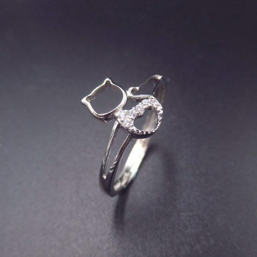 Nuevo anillo de plata 925 gato gatito con cubic x local !!!