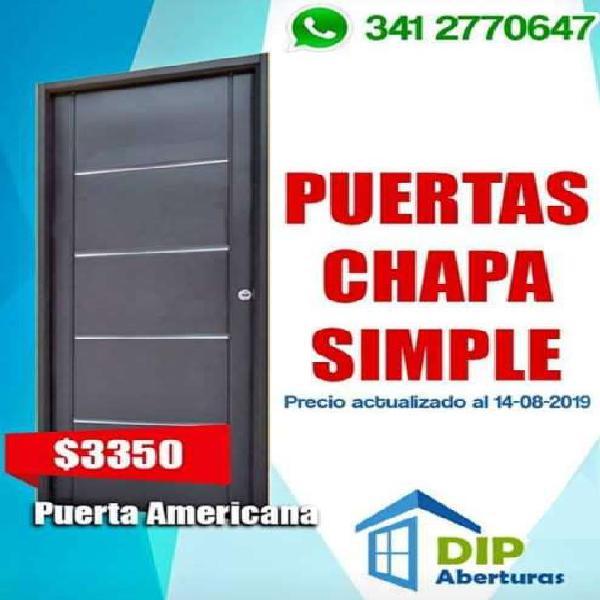 Puerta chapa simple americana 86 x 205