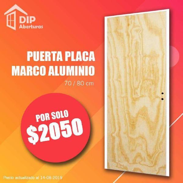 Puerta placa m de aluminio 70 y 80 x 205