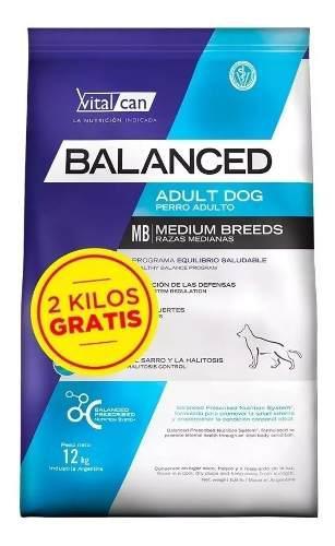 Vitalcan balanced perro adulto mediano x 12 + 2 kg