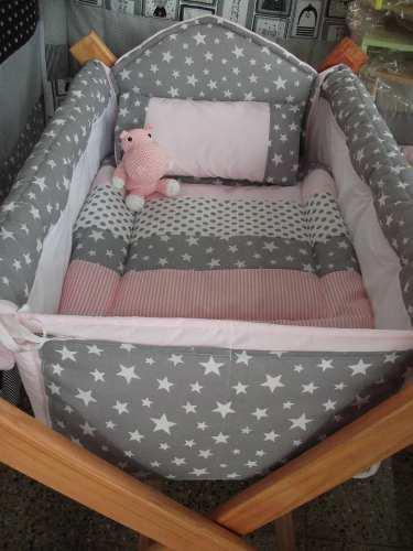 Catre cuna para bebes (bolsa +acolchado+almohadita bordada)