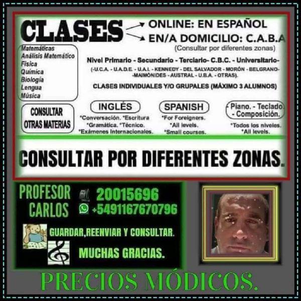 Clases particulares:presencial online