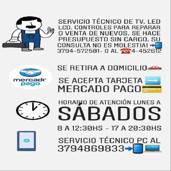 Servicio técnico de tv led lcd smart