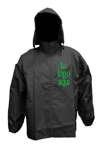 Campera rompeviento impermeable personalizada negro talle l