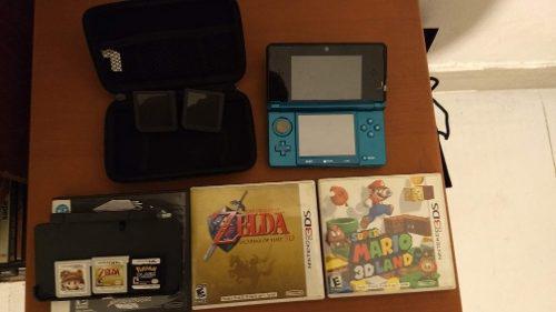 Nintendo 3ds azul aqua + 3 juegos