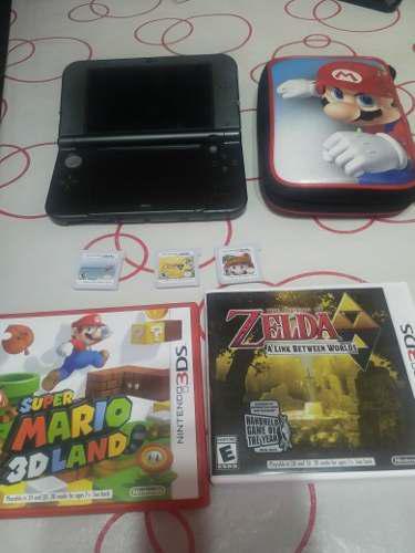 Nintendo 3ds xl como nueva, estuche, 3 juegos y cargador.