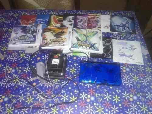Nintendo 3ds xl, juegos, cargador y cartas todo