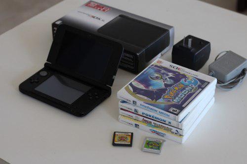 Nintendo 3ds xl negra caja original + 5 juegos mario pokemon